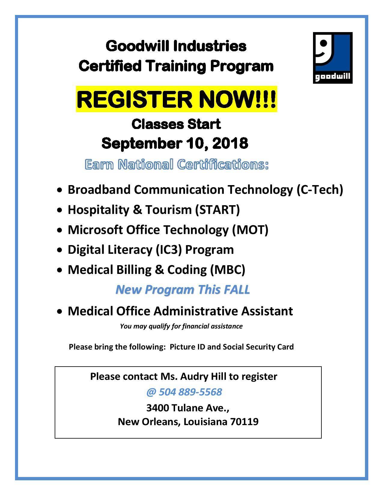 Registration Now Open For Goodwills Certified Training Program